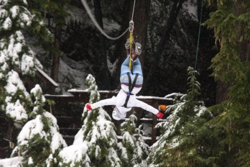 Zip lining in Whistler after the first snow fall