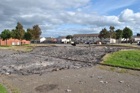 In Belfast, what remains of the bonfire
