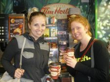 Sandra and I with our Timmie's coffee!