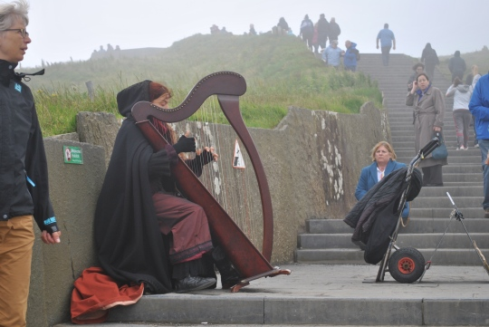 Making our way up the stairs, we ran into a harpist