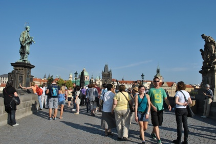 People everywhere on Charles Bridge