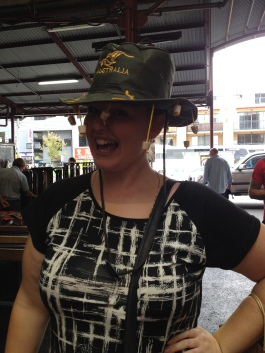 She's modelling the finest goods at Queen Victoria Market